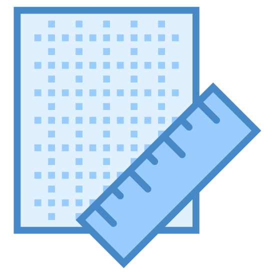 Blueprint icon. The icon is a simplified depiction of a piece of grid paper with a ruler across its southeast corner. The grid paper is an angular piece of paper, with sets of parallel dotted horizontal and vertical lines extending across the expanse of the paper. The icon symbolizes a blueprint.