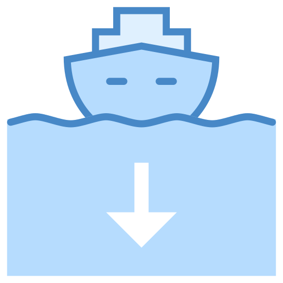 Okręt wracający do portu icon. This image is composed of a boat shape with the bow pointing towards the viewer.  The bow of the ship has two dots on either side of it and there is a seagull shaped line representing a wave.  Above the boat is a arrow that is pointing downwards to the ship.