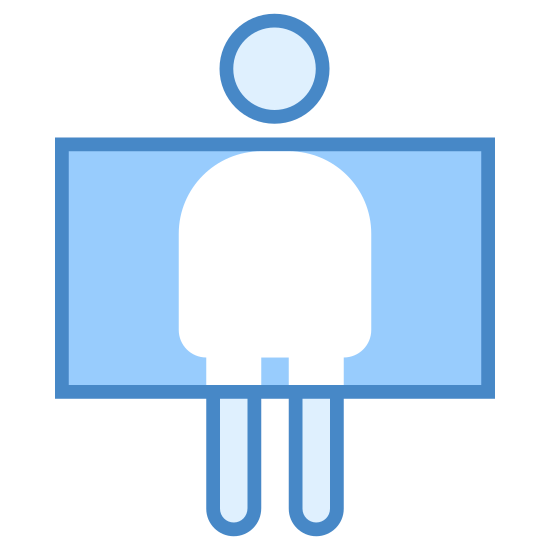 Airport Security icon. There is a symbol of a man with his arms out stretched. Across his chin and knees a line has been drawn. Between these lines there are a series of dots covering everything except the man to depict that he is being scanned.