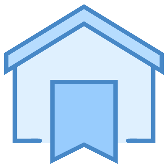 Booking icon. The icon is a logo of Booking. It is in the shape of a house, with half of a ribbon in the center. The ribbon has the pointed side facing down.