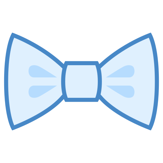 Bow Tie icon. The icon is a simplified depiction of a tied bow-tie. Two large trapezoidal flaps extend outward from a middle bound portion. The icon symbolizes a bow-tie, a very minute alternative to a traditional long tie, often worn for formal wear and occasions.