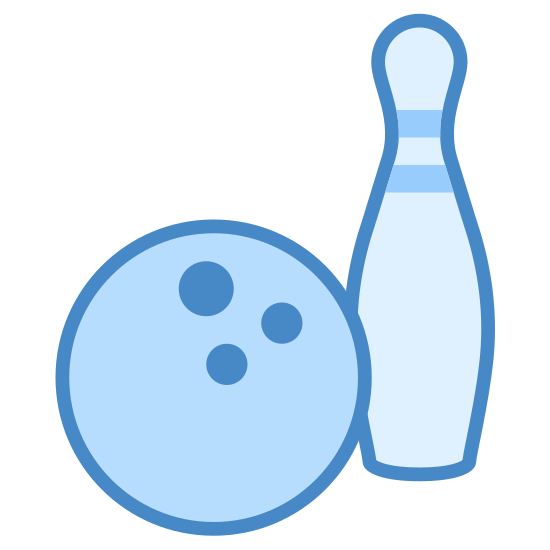 Kręgle icon. There is a bowling ball with 3 holes in it sitting next to a single bowling pin. There is two stripes near the top of the bowling pin and not much detail to the ball other then three finger holes near the upper right.