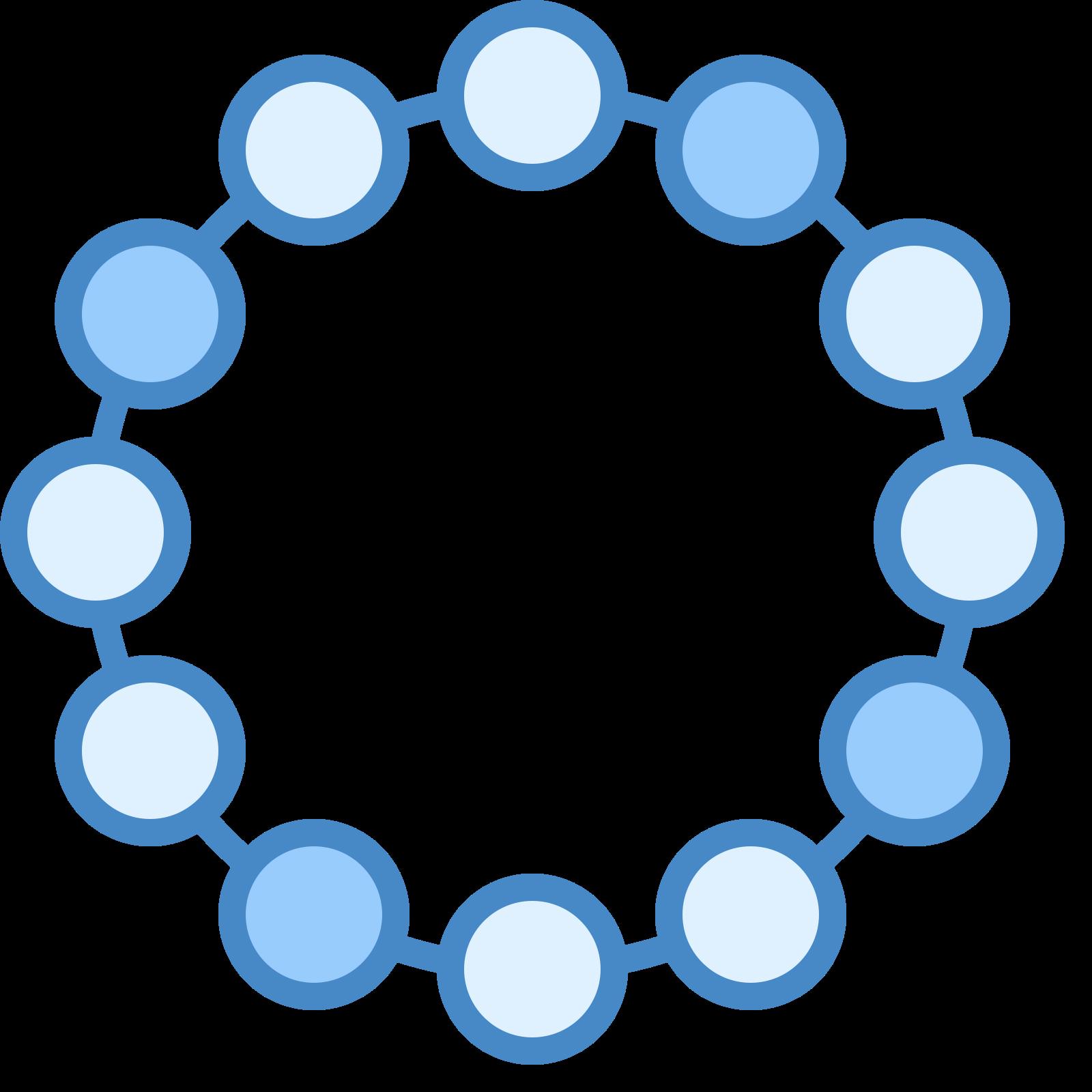 ブレスレット icon. The image is of a circle. The circle is composed of little circles that are connected by dashes in between each on that completes the circle. There is nothing in the center of the circle or on the outside of it.