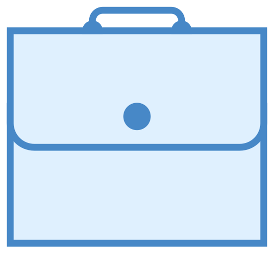 Aktówka icon. The icon shows a briefcase that is closed with a handle on the top. It represents something to do with business. The briefcase has a flap that is folded over the front to close rather than a latch.