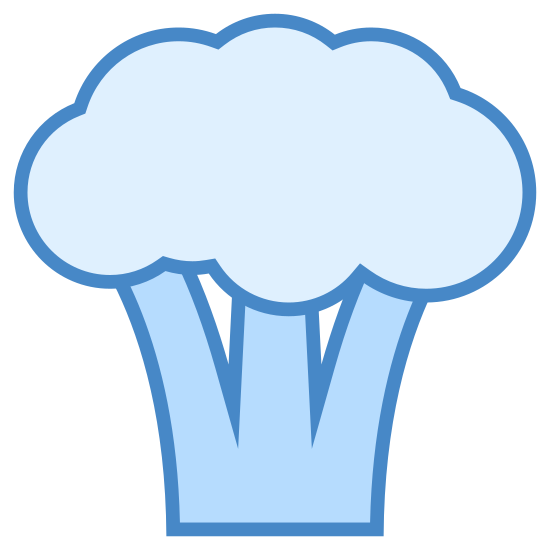 Broccoli icon. This is a picture of a piece of broccoli with a puffy top. it has three legs and a flat bottom. the broccoli is by itself so it is just simply representing the piece of food