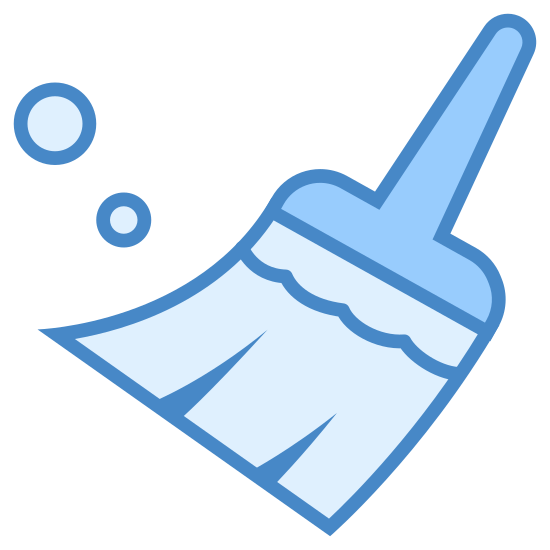 Broom icon. It's a logo depicting a broom with a short handle. The bristles are shown by two lines dividing the broom's base and there are two perpendicular wavy lines above them. There are three circles of different sizes to the left of the broom showing that it is sweeping up dust.