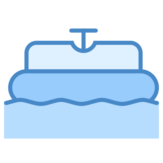 Barco-choque icon. This icon depicts a boat floating in water. The purpose of the boat in water is to let the onlooker know that this area is for bumper boats.