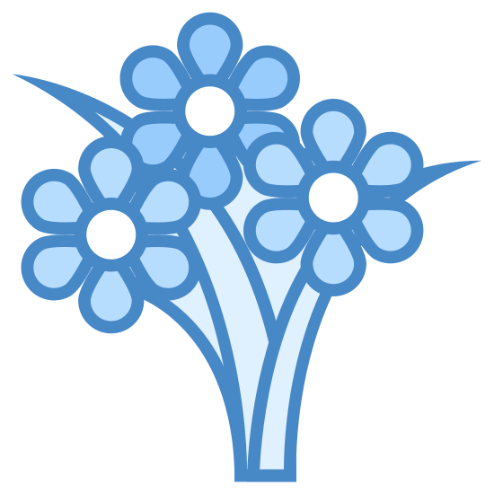 Flower Bouquet icon. It's a logo to represent a flower bouquet.  the flowers on the logo are circular with 5 points to symbolize individual petals.  The flowers have a round circle in the middle of them. Also there is a leaf that is growing from the bottom of the logo an pointing towards the sky.