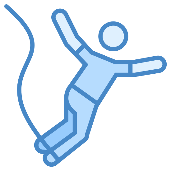 Bungee Jumping icon. The bungee jumping icon is a icon with a person falling downwards. The symbol represents a person jumping because the person has his or her hands outwards and legs together going down. The icon may also have a partial objection on the side to show the person jumping off of something.
