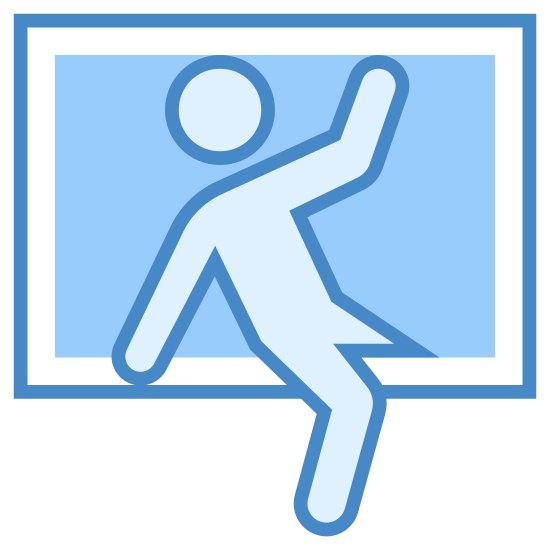 Burglary icon. This is an image of a rectangular window.  Going through the window is a two-dimensional human figure.  The figure is already halfway through the window, with each of its legs hanging on either side and its arms outstretched.