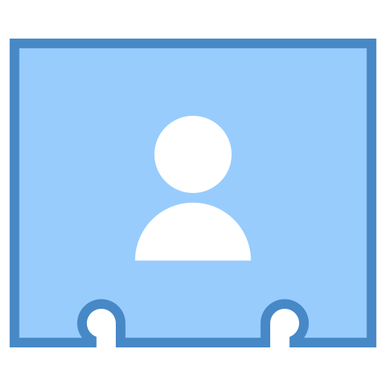 Contact Details icon. A business contact icon is a rectangle, but it isn't complete because at the bottom there are two half like circles that looks like someone hole punched it. In the rectangle there are two symbols, on the left there is a person and on the right there is an at sign.