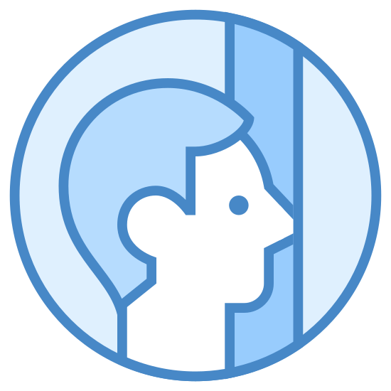 Butting In icon. It's an outline of a persons face with a very large nose, that is poking through a crack in a door. The person is in the middle of walking in on someone.