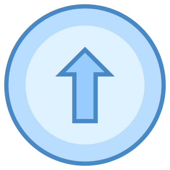 """Kup Upgrade icon. This icon for """"buy upgrade"""" is depicted as a large circle. Inside of the circle, at its very center. is an arrow that points upward. Around the inner edge of the circle is a series of small dots that run along the entire interior of the circle."""
