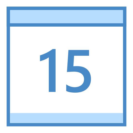 Calendar 15 icon. There is a square calendar box with a header and two pins at the top. Inside the square is the number 15.