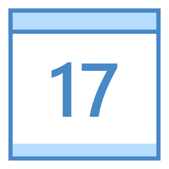 Calendar 17 icon. There is a square calendar box with a header and two pins at the top. Inside the square is a larger number 17.