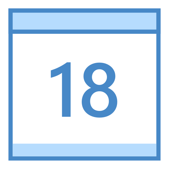 Calendar 18 icon. This is logo for calendar 18. This icon has a picture of a page of a calendar and it appears to be hanging.There are two rectangle on the top to denote that it is hanging. In the picture the number 18 is displayed in it.