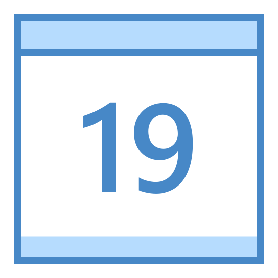 "Calendar 19 icon. This is a picture of a calendar with the number ""19"" showing on the front. it has two small rings at the top holding the pages together, and a bar that would most likely be for the month's name."