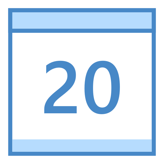 Kalendarz 20 icon. This is the number twenty drawn inside of a square. The square has a line near the top, separating about 1/4 of the square. The top of the square has two little tabs.