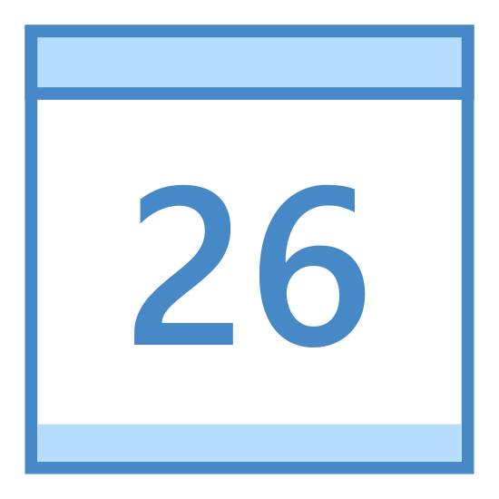 Kalendarz 26 icon. It's an icon of a calendar, set on the 26th day of the month. It's displayed as a square with two ring-like objects at the top, to indicate that the pages flip over. There is the number 26 in the center of the square.