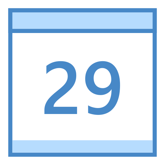 Kalendarz 29 icon. It's a square with 2 ring-like objects at the top, to indicate that it's a calendar that you would flip to change the date each day. There is the number 29 inside the square, to signify that it is the 29th day of the month.