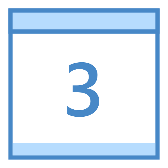 Kalendarz 3 icon. This is the number three in the middle of a square. There is a line drawn horizontally across the top of the square. There are two little tabs attached to the top of the box.