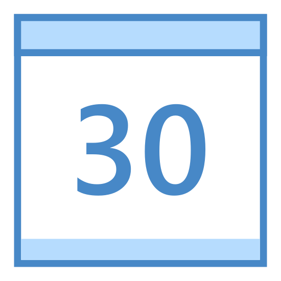 Kalender 30 icon. This is a calendar page that is displaying the number thirty. There is no month displayed, nor is there a day. There are, however, what looks like two rings protruding from the top of the page, suggesting that this is a calendar that can be adapted for reuse month after month.