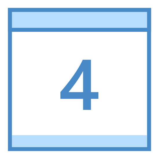 "Calendar 4 icon. It's a logo of a calendar page with two rings on top and the page hanging down from them. There's a line across the top of the page and then in the lower bigger section is the number ""4""."