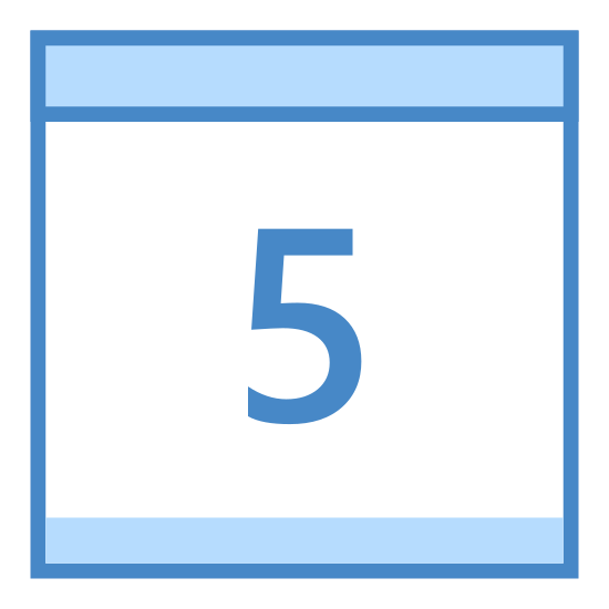 "Kalendarz 5 icon. A rectangle with the short sides vertical. On top of this a rectangle of the same length, but 1/4 height. 1/4 of the way in from each side are two small upright rectangles, where half extends above the top of the small rectangle and half extends 1/4 into the small rectangle. Inside the large rectangle is the number ""5""/"