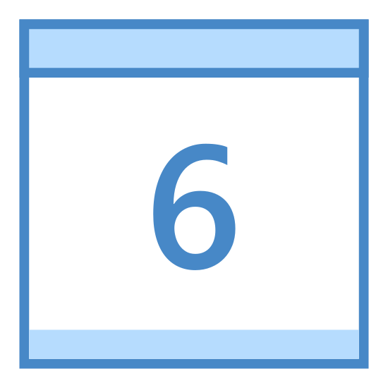 "Calendar 6 icon. It's a logo of a calendar page with two rings on top and the page hanging down from them. There's a line across the top of the page and then in the lower bigger section is the number ""6""."