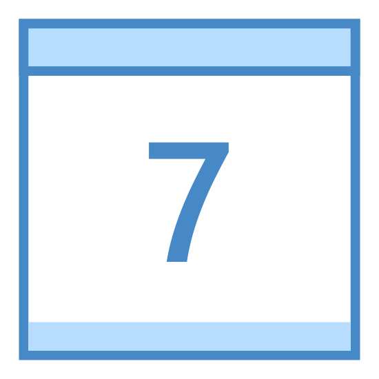 Calendar 7 icon. This icon is of a calendar page with a number 7 on it that symbolizes the date. The logo is in black and white and does not include any other details.