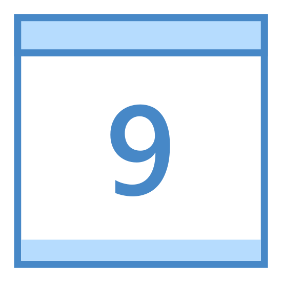 Calendar 9 icon. This is the number 9 inside of a box. There is a line drawn across the top of the box, about a quarter inch from the top. There's two little tabs at the top of the box.