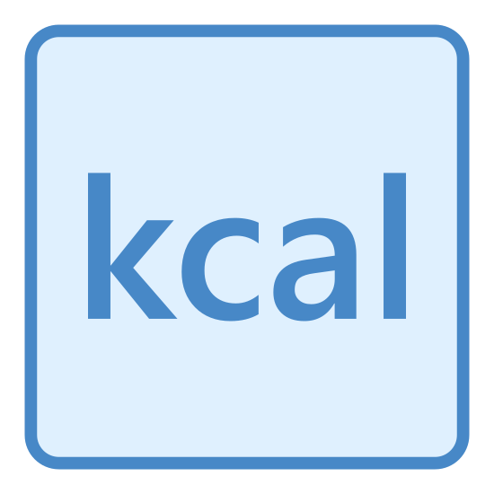 """Calories icon. The logo has the letters """"kcal"""" in a simple font in the middle of a square box with rounded corners. The lettered writing and lines are in black with a white background."""