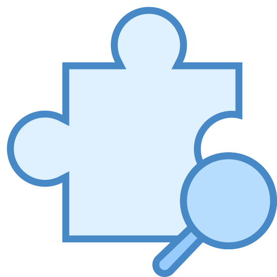 Camera Addon Identification icon. The camera addon identification icons are represented with two different icons that come together. The first icon is a puzzle piece, and the second icon is a magnifying glass. The magnifying glass is shown zooming into the puzzle.