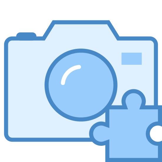 Camera Addon icon. A camera addon icon is represented with two icons. One icon is a camera the camera will have a rectangular shape with a circle in the center of the camera for the lens. The second icon with it is a piece of puzzle piece.