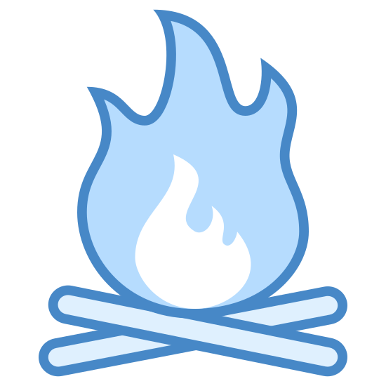 Campfire icon. This is a logo of an open fire. It has a roaring flame with three points at the top, and inside a smaller set of flames. Beneath the fire, two long sticks are placed in differing directions.