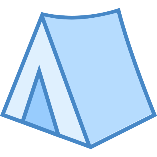 Namiot kempingowy icon. This is a simple triangle tent. It looks like a sheet draped over a clothesline, with a door at the front. It is triangular in shape, with a triangular door. It is rather small and looks as if it's placed on flat ground or terrain.