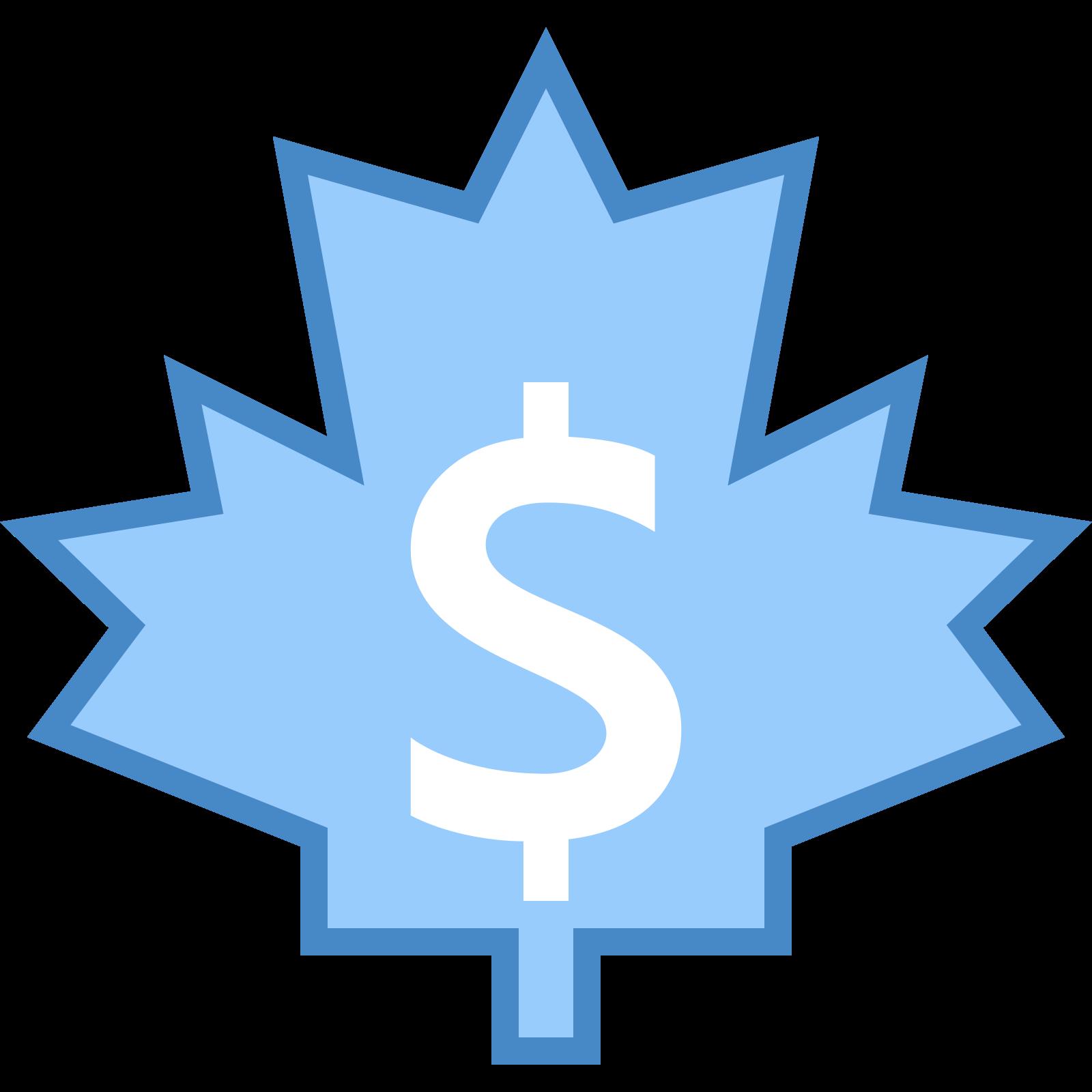 加拿大美元 icon. A Canadian dollar icon is a maple leaf with a dollar sign in the center. A maple leave consists of many zigzag edges, but a flat bottom with a stem attached. The dollar symbol is a S but on the top and bottom of the S, there is a little line attached to it.