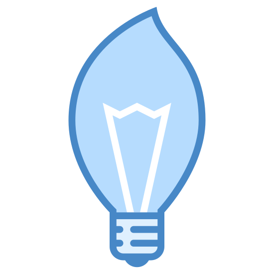Illuminate icon. This is a picture of an almost oval shaped light bulb. it is shaped like a flame. it has a base and the top of it is pointed towards the right side.