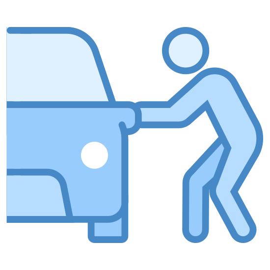 Kradzież samochodu icon. This icon is depicting a person next to a car in a crouched position. Only the rightmost portion of the car is visible, and the person is seen as reaching toward the door of the car.