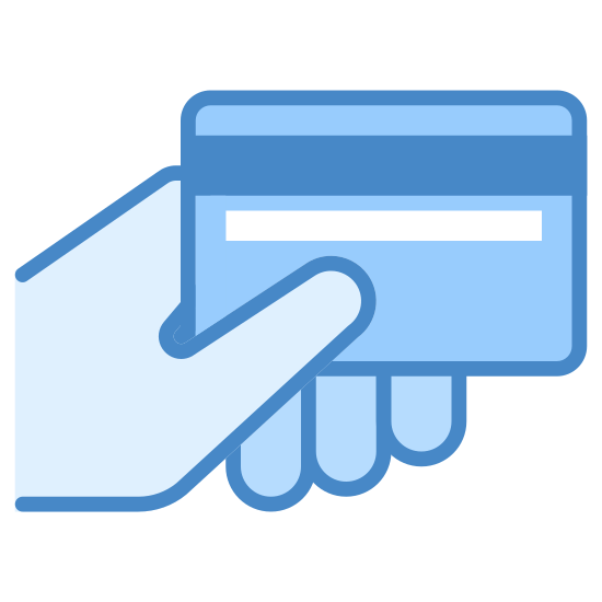 Card Payment icon. A picture of a hand holding a credit card. The bar code side is facing us. It is being held with a left hand. Pretty simple picture.