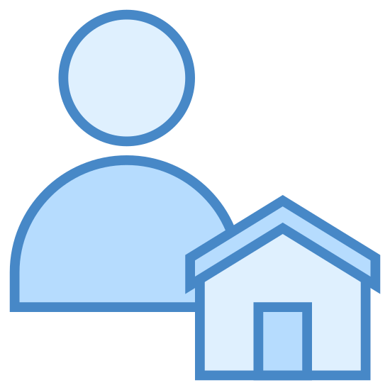 Dozorca icon. This is a drawing that has a person on the left side and a small house on the right side. The house has a roof on the top and a door right in the middle.