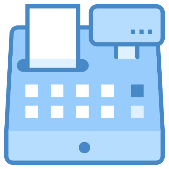 Cash Register icon. The image depicts a cash register with a drawer that is closed and no numerical value being displayed on the register sign. There is a receipt with writing being printed from the register.