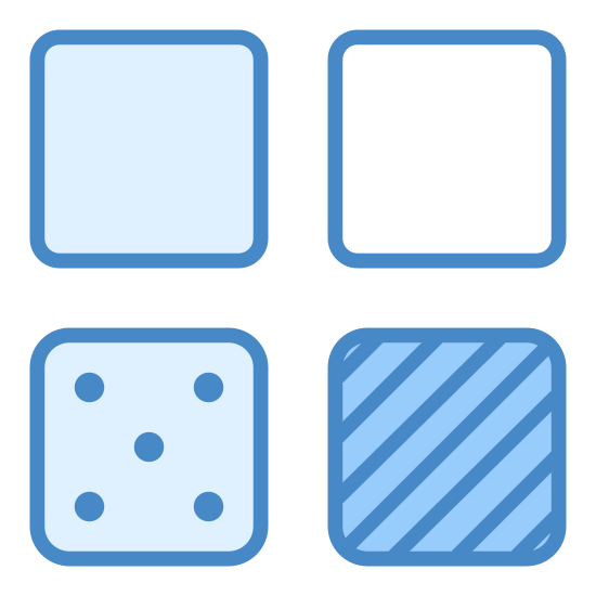 Categorize icon. This is a picture of four small squares in organized to make a big square. The top right square has small black dots all over.The square to the right is an empty white box. the small box below the white box has lines going sideways, the box to the left of this box has four circles inside