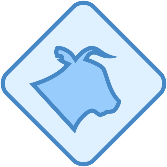 Livestock icon. The image is a square with slightly rounded corners. One of the corners is pointed straight up. Inside the square is the head of an animal that appears to be a cow. The animal doesn't have a mouth or eyes the but nose is pointed to the right.