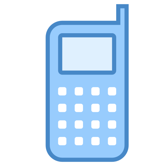 Cell Phone icon. It's a picture of an old school cell phone. Or it could be considered to be just a modern land line. It just has nine black dots for the keypad, a small rectangle for the screen, and a smaller rectangle for the antenna.