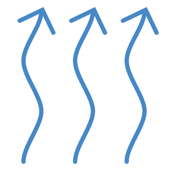 Central Heating icon. The icon shows three identical arrows side by side to each that are standing vertical. The arrows squiggle and curve their entire length. The points of each of the arrows are all facing up but are slightly slanted to the left.