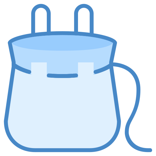 Drawstring Bag icon. The logo is a backpack but not a normal looking backpack. It has what looks like bunny ears which I can assume are the straps of the backpack. There is also a tail like line coming from the side of the backpack.