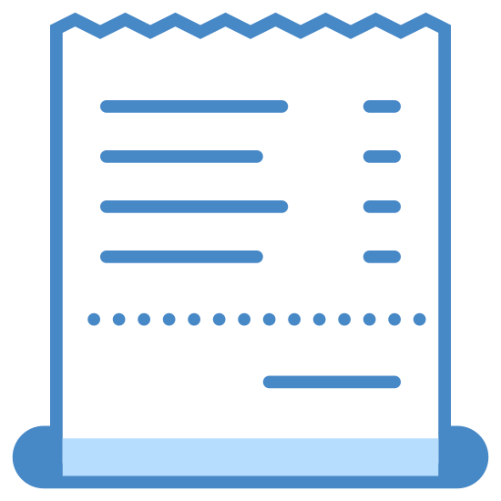 Check icon. It's a piece of card stock type paper that lists out all your restaurant purchases. It includes the item that you ordered and the price for that item. It also includes the total of your purchase including tax that you need to pay the waiter.