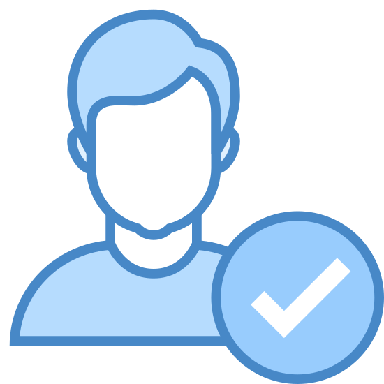 Отмеченный пользователь icon. The icon consists of the portrait outline of a humanoid figure with short hair and diminished facial features. At the lower right corner of the portrait is a check mark. The icon represents a male user who has been selected by the user for some arbitrary purpose.