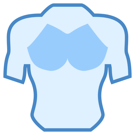 "Chest icon. It is a muscular and toned male chest. Deltoid, biceps and pectoral muscles are defined, as is the ""cut"" on both sides of the abdomen. The arms extend to the elbows. Chest hair is indicated over the pectoral muscles."